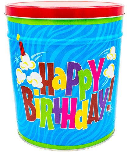 Happy Birthday 3 gallon Popcorn Tin