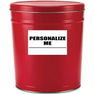 6 gallon solid red popcorn tin