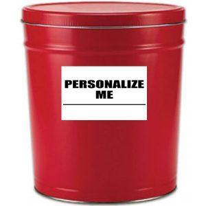 6 gallon solid red popcorn tin