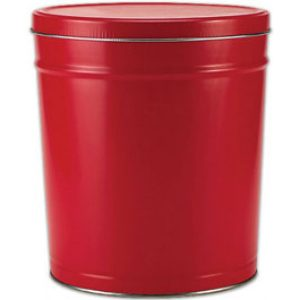 red 3 gallon popcorn tin