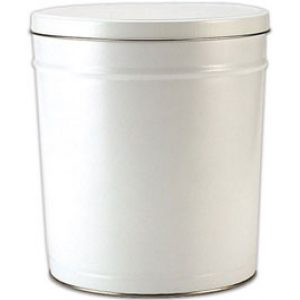 white 3 gallon popcorn tin