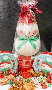 lit snowman gift stack