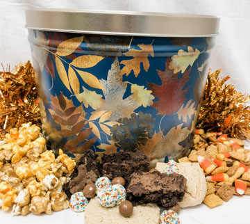 Fall Leaves Goodie Popcorn Tin