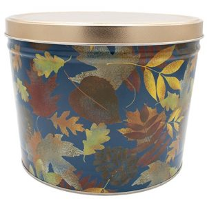 fall leaves popcorn tin