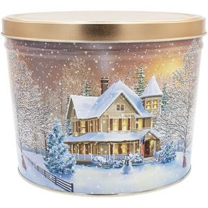 home for the holidays popcorn tin 2 gallon