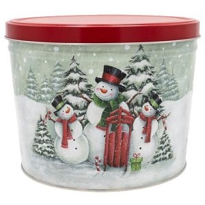 snow family popcorn tin 2 gallon