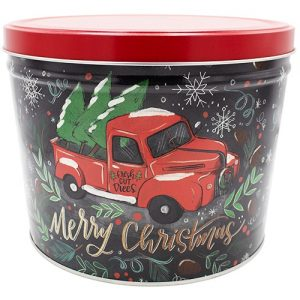tree farm truck popcorn tin 2 gallon