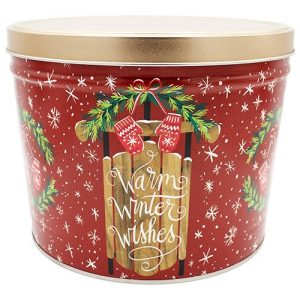 warm winer wishes popcorn tin 2 gallon