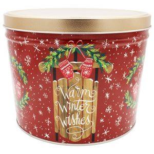 warm winer wishes popcorn tin 2 gallon