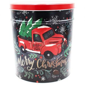 tree farm truck popcorn tin 3 gallon